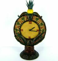 British Colonial Style Tall Table Clock Pineapple Hall Entry Tropical Quartz 17""