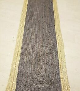 Grey Jute Rug Runner Handmade Braided Reversible style Rug Grey Look Natural Rug