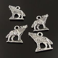 30X Antique Silver Tone 15*15*1mm Howling Wolf Charm Pendant Finding