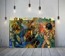 More details for salvador dali tuna fishing- framed canvas wall art picture paper print- blue red
