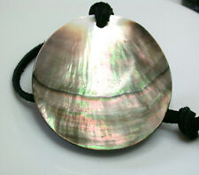 Stunning 6cm Tahitian mother of pearl circular pendant leather necklace