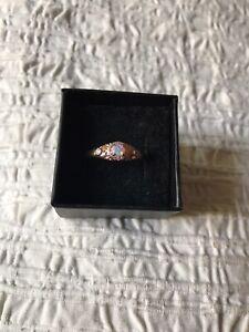 Fragrant Jewels Summer Shimmer Ring NWT rose gold plated 9 pink opal Swarovski