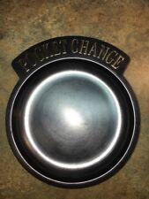 "Vintage Pocket Change Dish. Black Plastic Gold Writing  5 1/8"" X 5 3/4"""