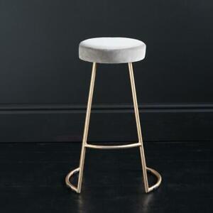 Tapas Bar Stool Linen Seat with Metal Gold Base 69 cm Kitchen Breakfast