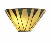 1-fl. Lampe Wandleuchte Tiffany Glas antik messing, 17x30x17 cm, LED Design  NEU