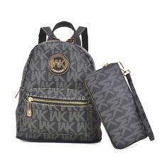 New Womens Handbag Faux Leather Backpack Schoolbag Monogram Medium Purse