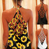 Sexy Women Backless Blouse Tops Sunflower Printed Vest Camisole Tank Fashion New