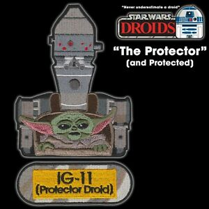 """Star Wars DROIDS """"The Protector"""" IG-11 and Grogu set of 3 embroidered patches"""