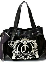 Women's Cute JUICY COUTURE Embroidered Gold Brown Bow Handbag Purse Q191