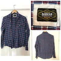 Barbour International Mens Shirt Size Large L Blue Checked Long Sleeve (C643)