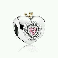 Authentic Pandora Silver Charm 14K Gold Princess Heart Pink Charm 791375PCZ