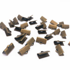 100pcs 6mm Metal Crimp End Fold Over Clasps Cord End Clips Jewelry #03