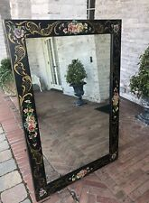 REDUCED!!!  RARE!!! ANTIQUE BLACK FLORAL TOLE HAND PAINTED MIRROR METAL FRAME
