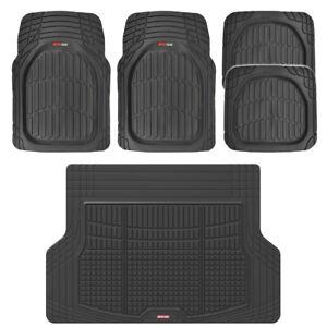 5 PC Auto Car Floor Mats Deep Dish Heavy Duty Rubber Front Rear & Cargo Liner