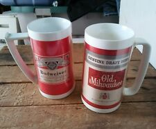 2 Vintage 1970s Budweiser /Old Milwaukee Plastic Thermo-Serv Beer Steins mugs {7