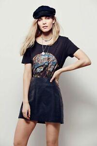 $78~FREE PEOPLE Zip To It Vegan Faux Leather Mini Skirt~Black~Size 2 XS/Small💖
