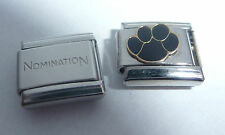 BLACK PAW PRINT 9mm Italian Charm + 1x Genuine Nomination Classic Link - Dog Cat