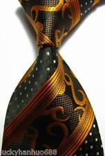 New Classic Pattern Stripe Gold Brown JACQUARD WOVEN 100% Silk Men's Tie Necktie
