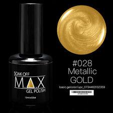 Max 15ml Soak off GEL Polish Nail Art UV LED Color #028 - Metallic Gold