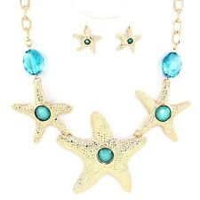 Aqua and Gold Starfish Necklace Set