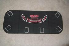 BLACKJACK CRAPS Table Top Mat Pad Casino Card Game Black Felt 2 Sided Layout #56