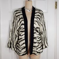 C'EST CITY Size Large White & Black 3/4 Sleeve Open front Cardigan Sweater Women