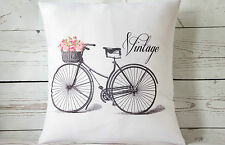 """Vintage Bicycle - 16"""" cushion cover French shabby vintage chic - UK handmade"""