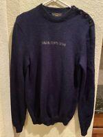 RRL Double RL Ralph Lauren 100%Wool Linen Sweater Crewneck Navy Blue Small