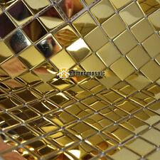 square golden color stainless steel metal mosaic tiles kitchen backsplash tile