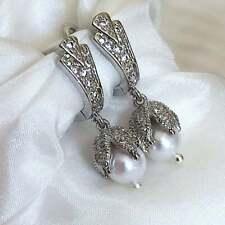 Floral Freshwater Pearl Earrings Silver Crystal Earrings White Natural Pearl
