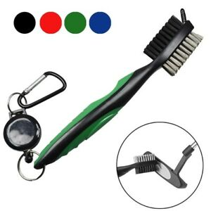 Double Sided Golf Club Brush Groove Cleaner with Retractable Zip-line Clean Tool