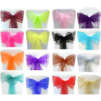 Chair Sashes Cover Organza Wedding Seat Bow Prom Party Decorations Table Sash UK