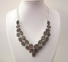 """925 Sterling Silver Necklace With Natural Smoky Quartz With 17.5"""" Chain (nk1385)"""