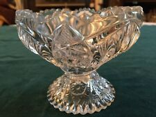 VINTAGE DECORATIVE COLLECTIBLE CLEAR LED CRYSTAL COMPOTE COMPOTIER BOWL