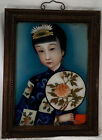 Antique Chinese Reverse Painting on Glass Geisha Girl Fan with Chrysanthemum