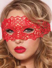 MASQUERADE LACE EYE MASK LADIES HALLOWEEN BLACK/RED VENETIAN FANCY DRESS