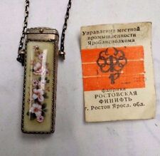 VINTAGE RUSSIAN HAND PAINTED PORCELAIN & METAL BOTTLE NECKLACE PILLS 1.75 X .5""