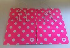 LOT OF 4 MEDIUM Victoria's Secret Pink Polka Dot Shopping Gift Paper Bags