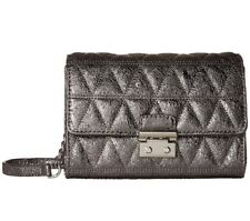 Michael Kors Ruby Metallic Quilted Clutch Cross Body Bag Pewter/Silver