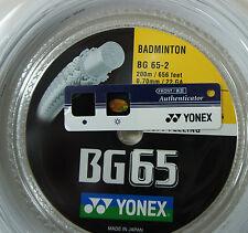 YONEX Badminton String 2 x BG65 200 m & 1 x BG65Ti 200 m, White, 100% Genuine