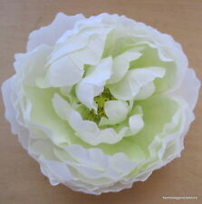 "Large 5"" White/Lime Peony Silk Flower Bar Brooch Pin,Wedding,Prom,Dance"