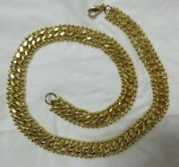 Vintage Gold Tone Tiny Bead Bordered Chain Link Collar Necklace