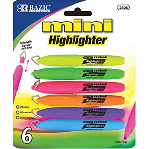 6 Mini HIGHLIGHTERS Neon Colored Chisel Tip Markers Fluorescent Hi Liter Pen