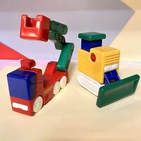 Tomy vintage chunky changers Fire Truck And Bulldozer! Intact 1980s Nostalgic'
