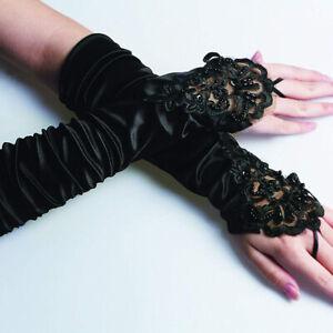Gothic Steampunk Venetian Ladies LACE GLOVES Black Fashion Long Fingerless