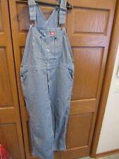Denim Bib Overalls men's size 46 x 30 Dickies brand Hickory Stripe