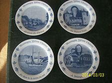 La Belle Epoque Set of 4 Porcelain Decorative Handpainted Flow Blue Plates