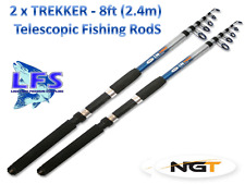 2 X NGT Telescopic FISHING Rod 2.4M 8FT Telescopic Coarse Travel Trekker Rods