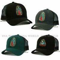Virgin Mary Guadalupe Hat PVC Patched Snapback Mesh Curved Bill Baseball Cap