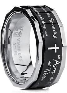 Men's Women's Black Stainless Steel Religious Cross Serenity Prayer Spinner Ring